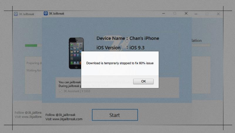 Jailbreak for iOS 9.3.1 and 9.3.2 from 3K iOS Jailbreak may be hazardous to users
