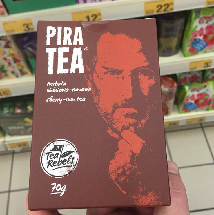 "Photo fact: in the ""Auchan"" you can buy cherry tea with a portrait of Steve jobs"