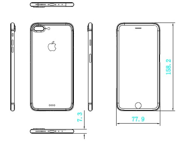 "Leaked schematic drawings of the iPhone 7 and iPhone 7 Plus with stereo speakers and display ""edge to edge"""
