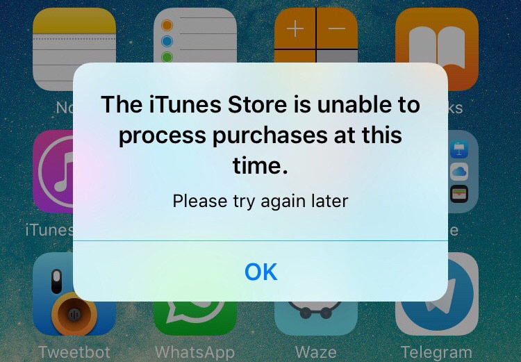In the work of the Apple services there has been a global failure