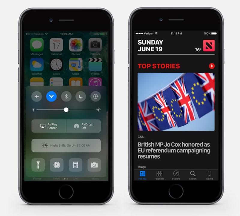 Dark theme in iOS 10 looks great
