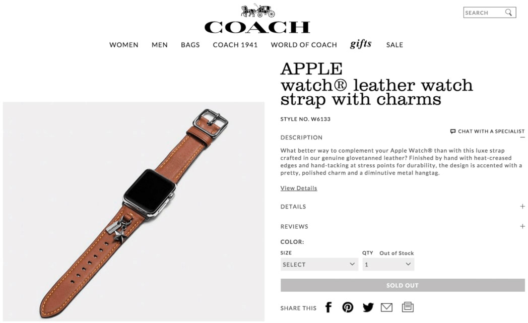 The brand Coach is preparing a collection of premium leather straps for Apple Watch