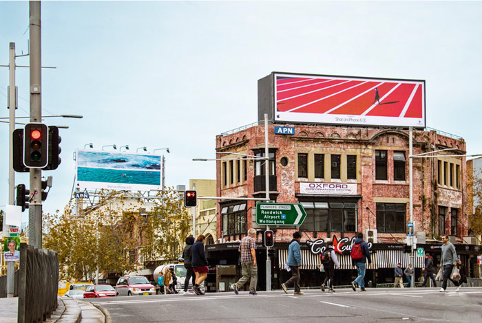 Apple has put up billboards with photos of the iPhone 6s worldwide