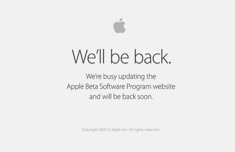 Apple shut down the website for users of the beta program before the presentation of iOS and macOS 10 10.12