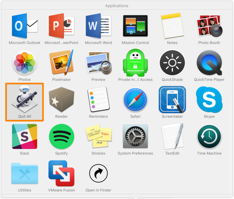 As in one click to close all apps on Mac