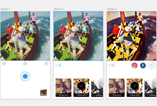 Published screenshots of the new interface Prisma