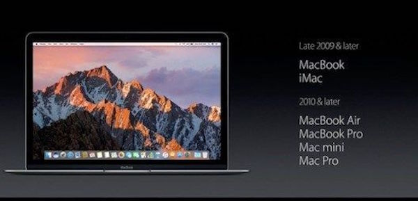 Published a list of computers compatible with macOS Sierra