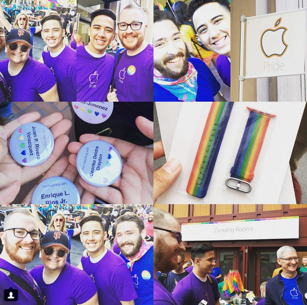 "Apple took part in a gay pride parade in San Francisco, employees donated a ""rainbow"" straps for Apple Watch"