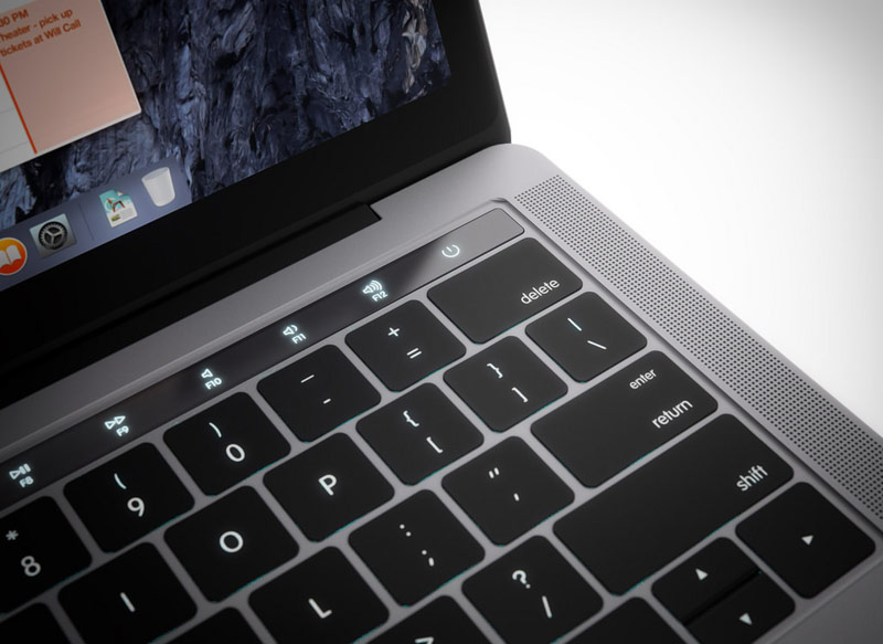 The impressive concept of the new MacBook Pro with an OLED panel, a huge touchpad and USB ports-C