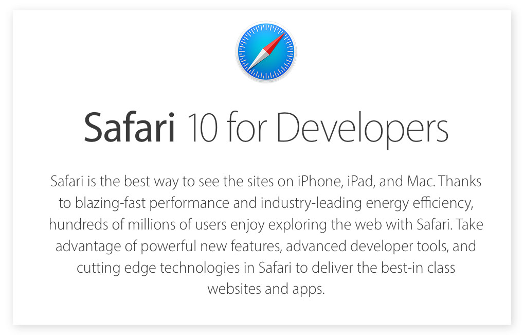 Apple has released Safari beta 10 for OS X Mavericks and Yosemite