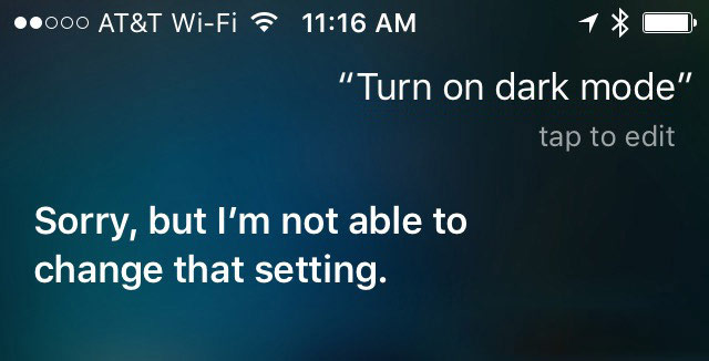 Siri hinted at a dark UI mode in iOS 10
