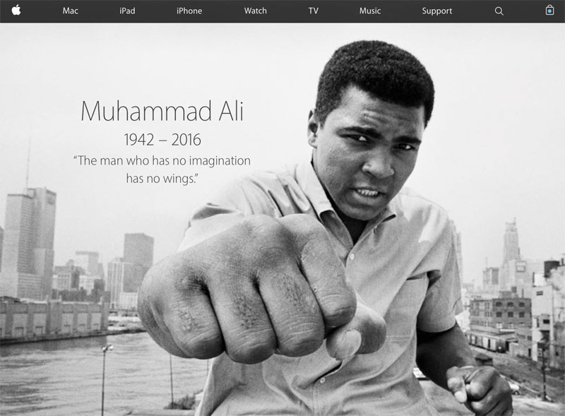 Apple honored the memory of Muhammad Ali