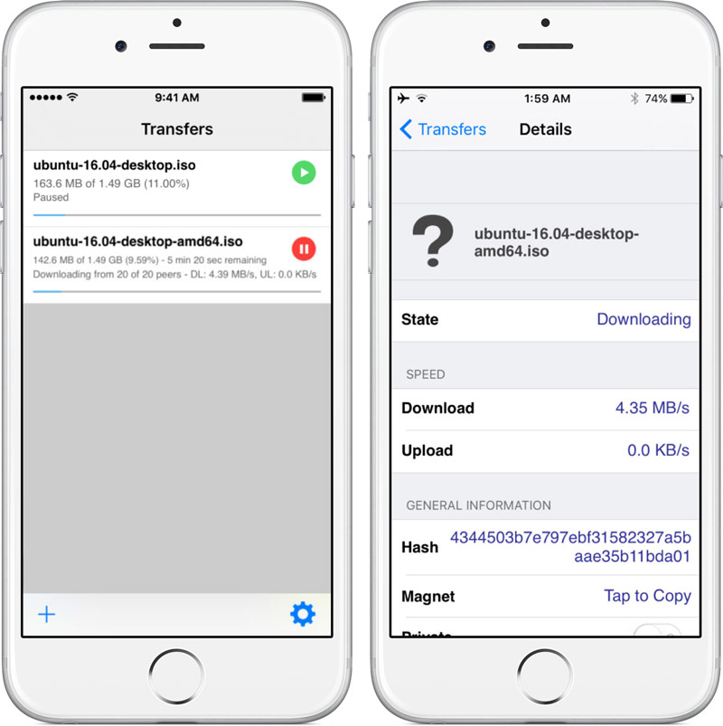 Came 5 iTransmission is a native BitTorrent client for iOS
