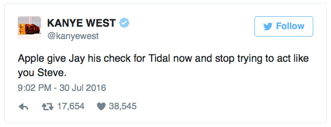 Rapper Kanye West urged Apple to buy streaming service Tidal from Jay Z