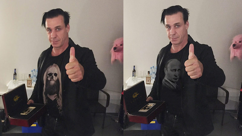 The leader of Rammstein commented on a photo of gold iPhone 6s and Putin t-shirt