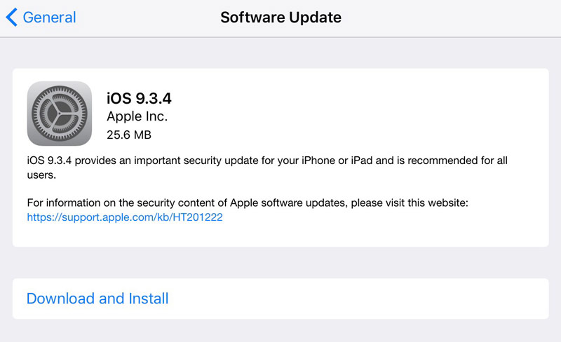 Apple has released iOS 9.3.4 for iPhone, iPad and iPod touch