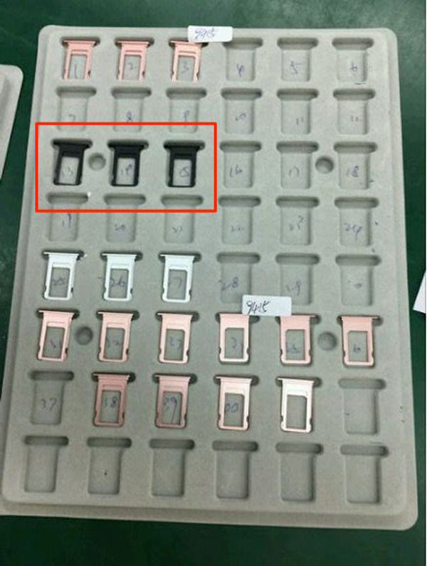 The Network got the pictures of the trays SIM card for the iPhone 7 in new black color