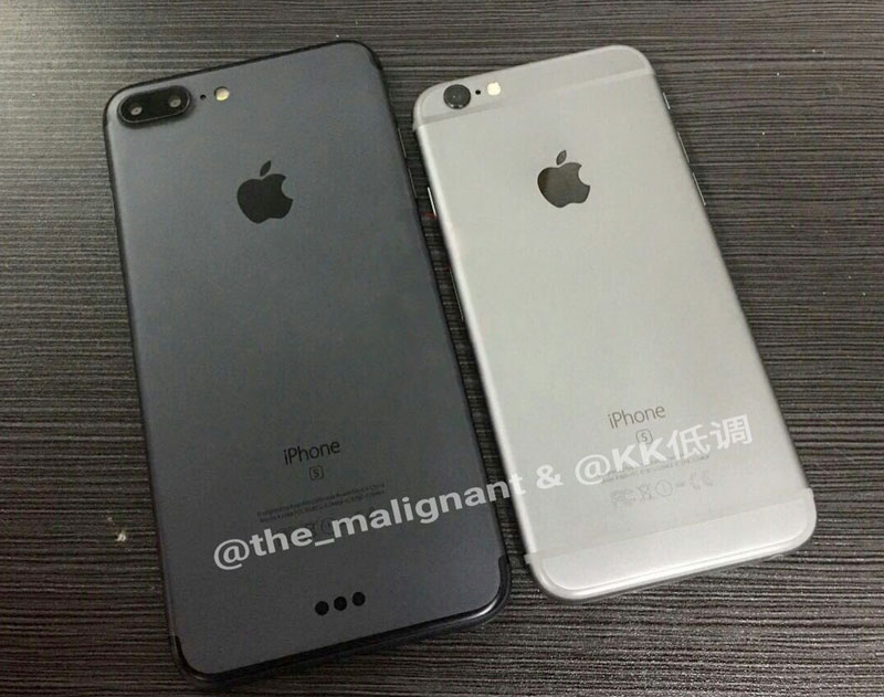 iPhone 7 Plus in the new color Space Black and silver iPhone 6s compared to photo