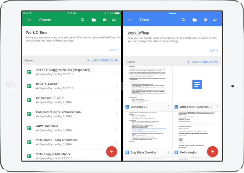 Office Suite Google apps has received the support of multi-tasking on the iPad