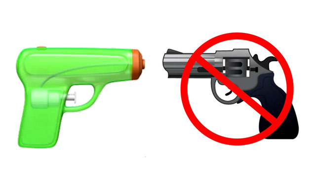 Apple disarm emoticons: iOS 10 water pistol replaced the revolver