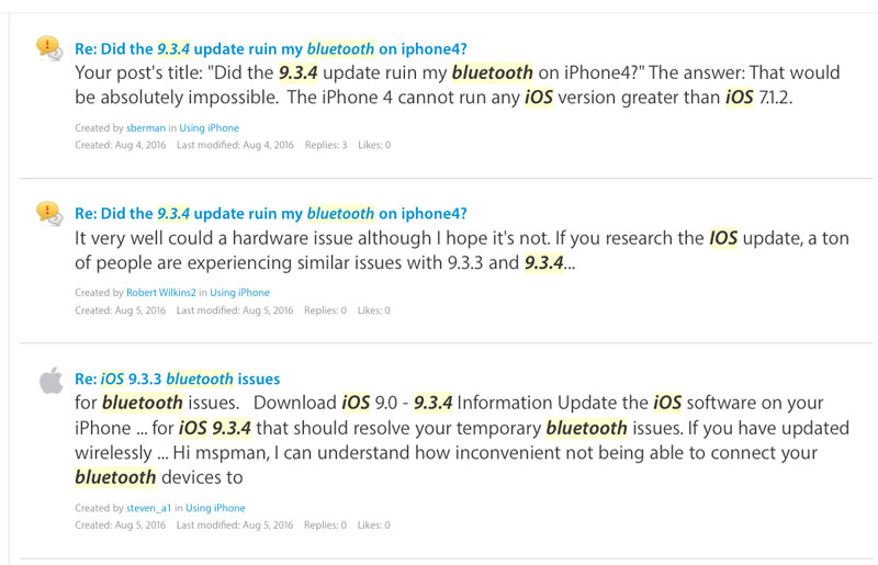 iOS 9.3.4 not solved the problems with Bluetooth on iPhone and iPad
