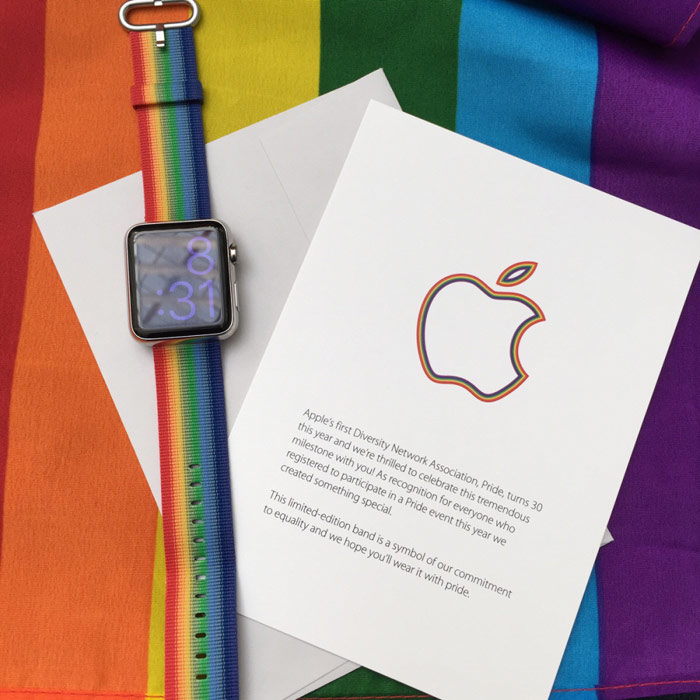 "On sale there is a ""rainbow"" straps Apple with the gay pride parade in San Francisco"