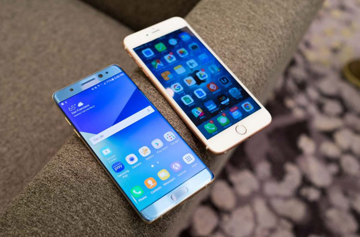 The first official pictures of Samsung Galaxy Note7 and comparison with the iPhone 6s Plus