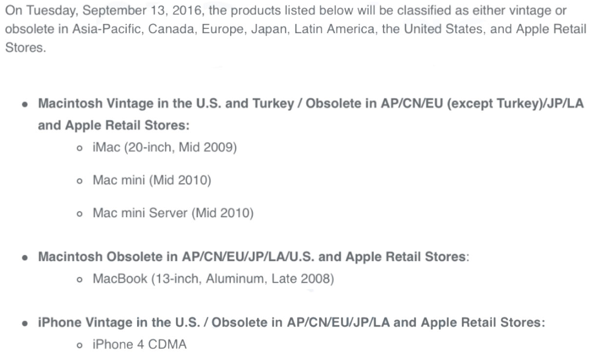 September 13, Apple officially discontinues technical support for iPhone 4 and iPod classic 120Gb