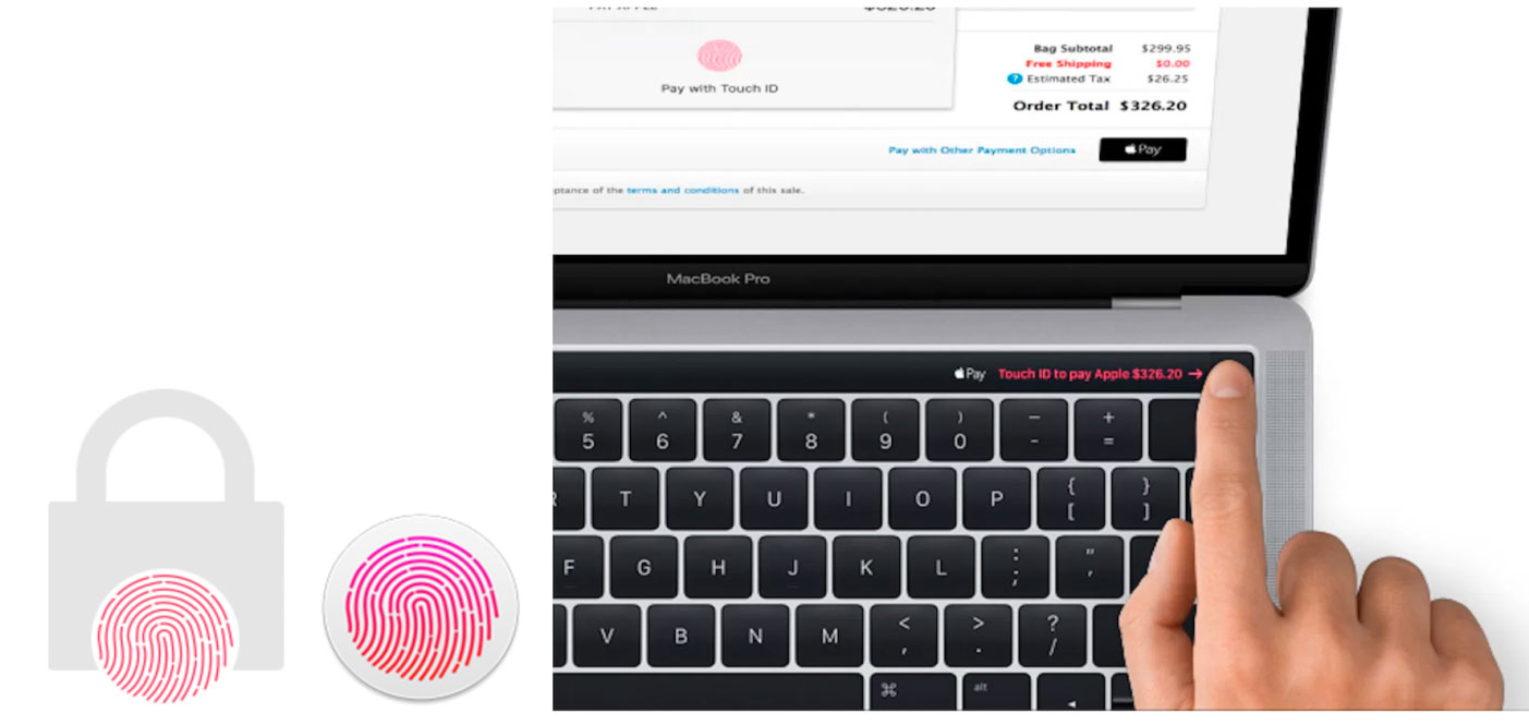 New images from macOS 10.12.1 demonstrate the fingerprint scanner Touch ID ability to unlock the new MacBook Pro