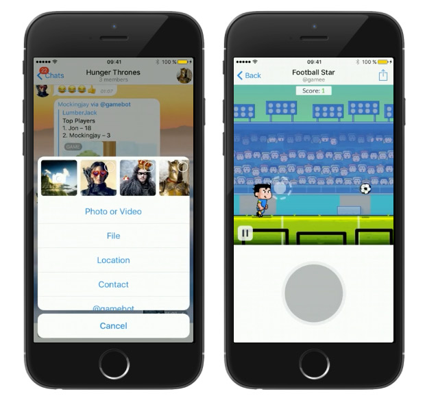 Telegram launched games based on HTML5 inside messenger