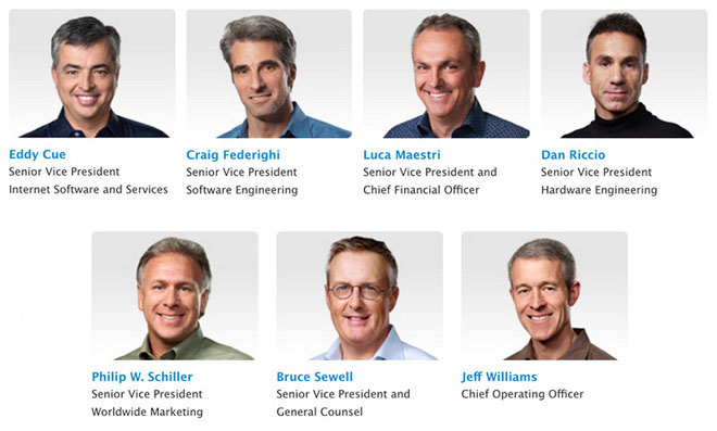 Six Vice-presidents, Apple received a $10 million in shares of the company