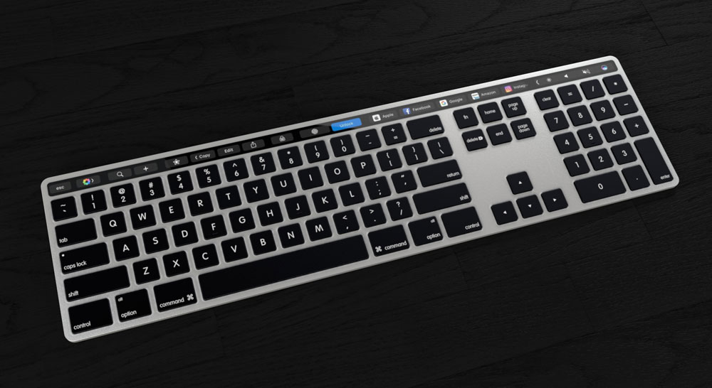 """Concept Apple keyboard with Touch panel Bar, which is """"envy Windows users"""""""