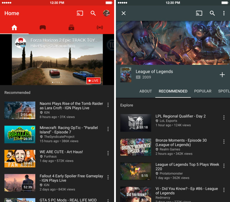 Google launched in Russia the new YouTube app gaming