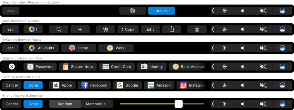 1Password has received the support of Touch ID and Touch Bar in the new MacBook Pro