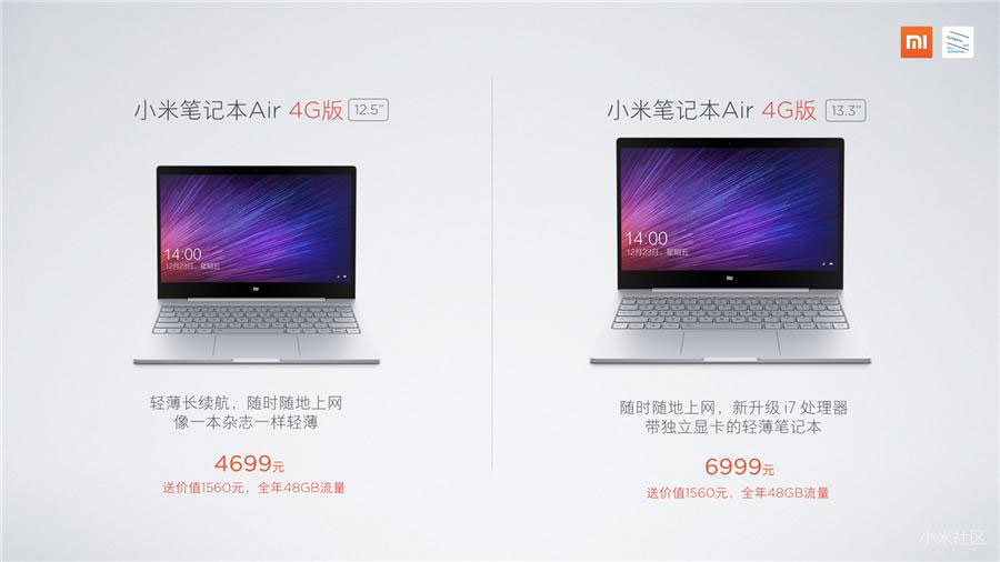 The Xiaomi Mi laptop Notebook Air 4G has been officially unveiled: features, price, release date