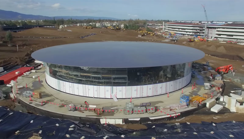 The new video from the drone showed an underground conference hall where Apple will introduce the iPhone 8