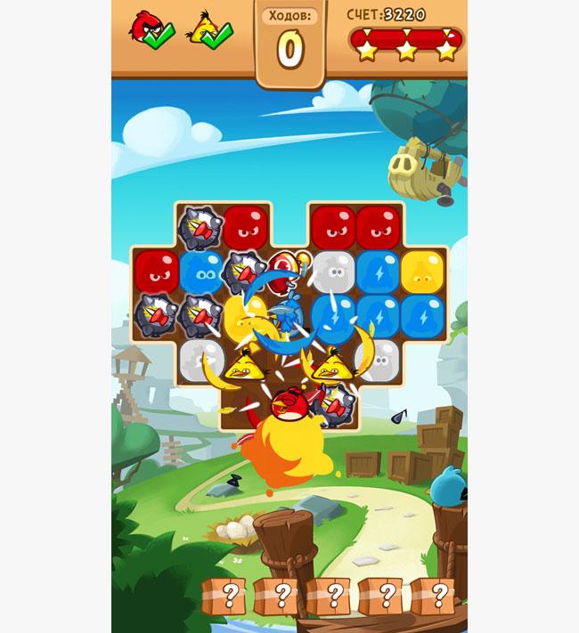 Angry Birds Blast birds in a row