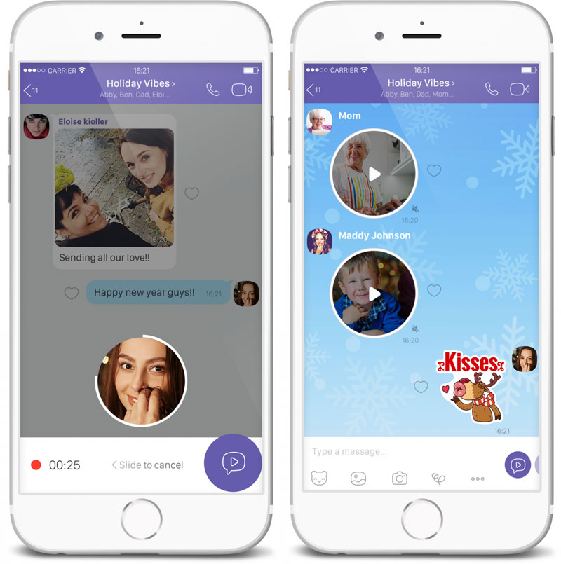 Viber has got the function of sending short video messages and search the stickers