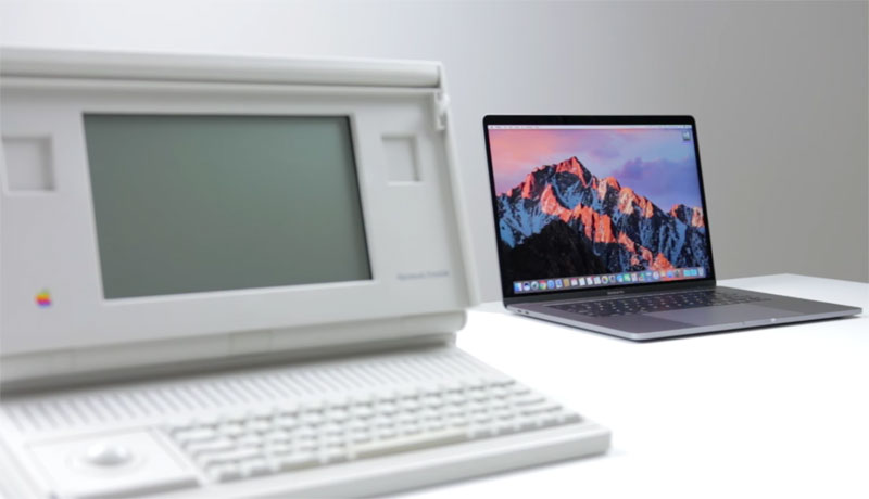 The first laptop in 1989 compared with the MacBook Pro 2016 [video]
