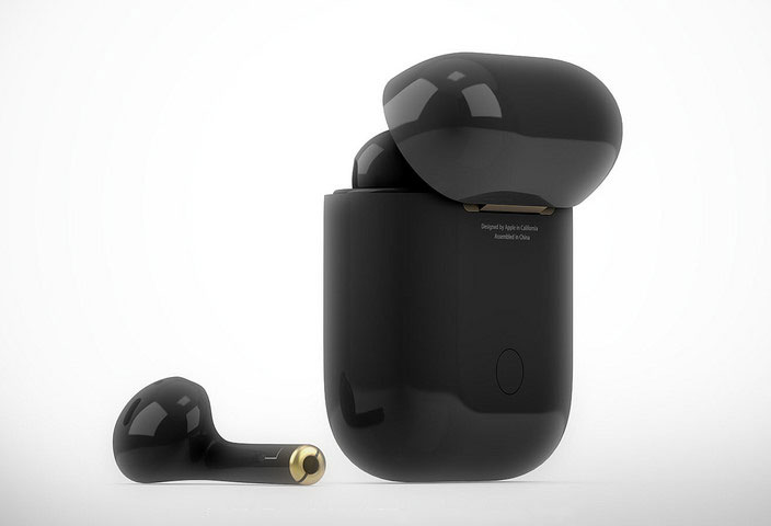 "The designer presented a luxury concept AirPods in the color ""black onyx"""