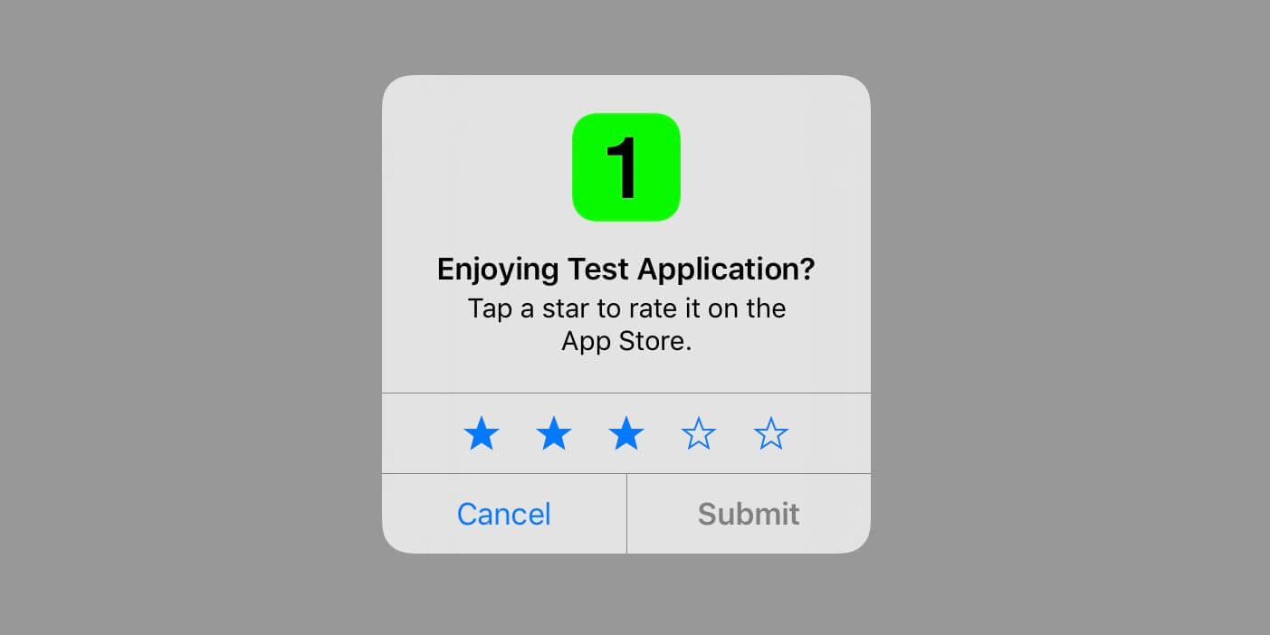 In iOS 10.3 will have the opportunity to rate the app without leaving it