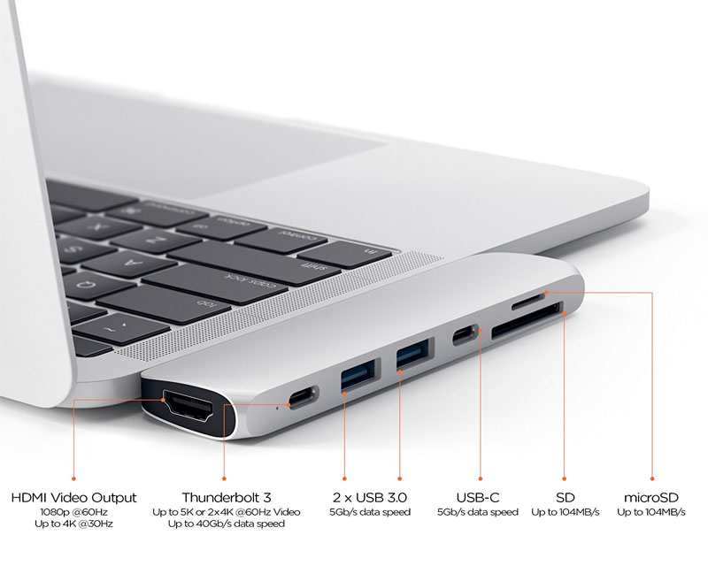 Satechi Type-C Pro Hub: a set of additional connectors for MacBook Pro