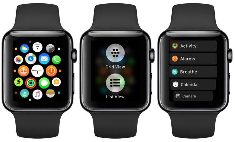 WatchOS 4, there is a mode to display applications in a list