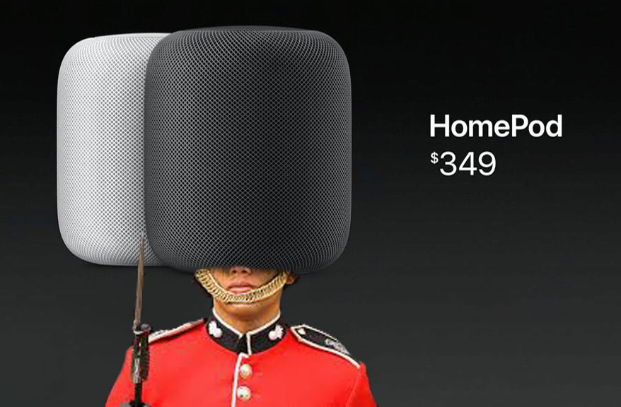 Column Apple HomePod compared with the bin and women's tights