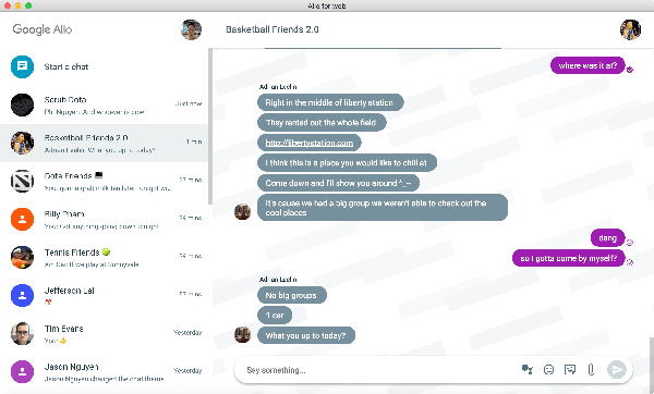 On macOS appeared client Google Allo