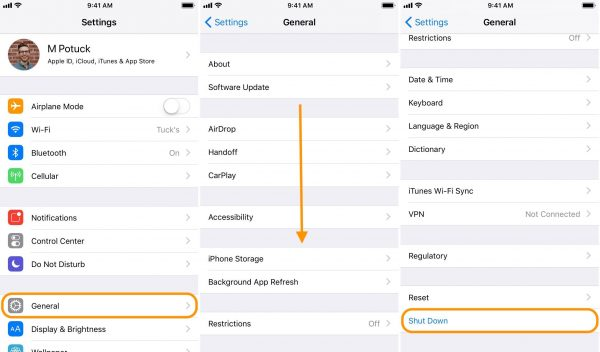 How to turn off iPhone iOS 11 without power button