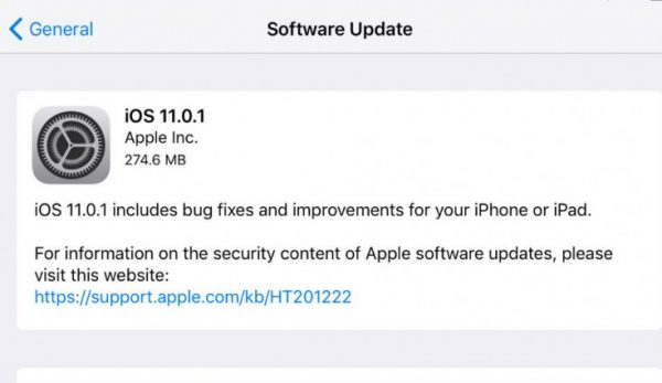 Users have experienced serious problems after upgrading to iOS 11.0.1