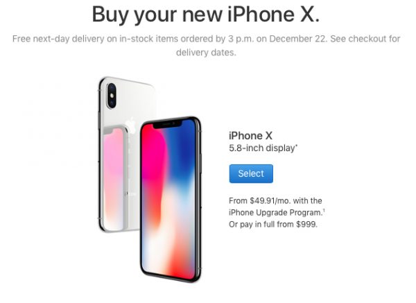To catch up to the New year: the delivery time iPhone X decreased
