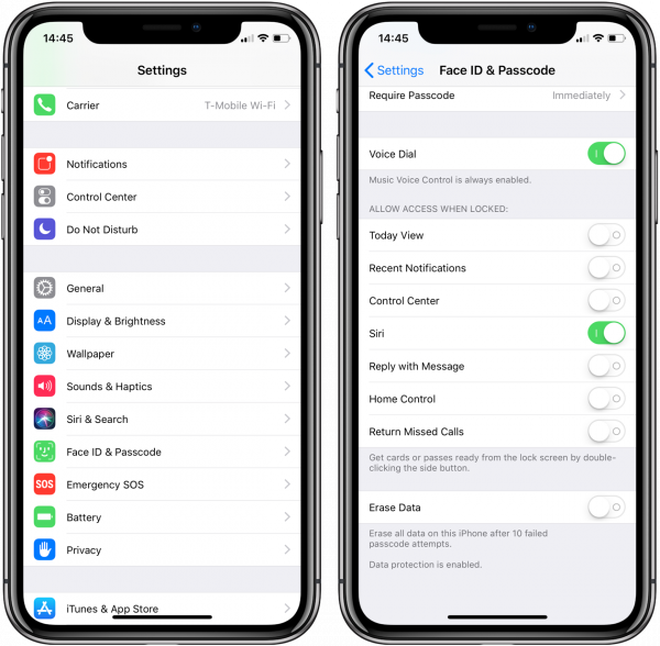 How to restrict access to information on the iPhone lock screen