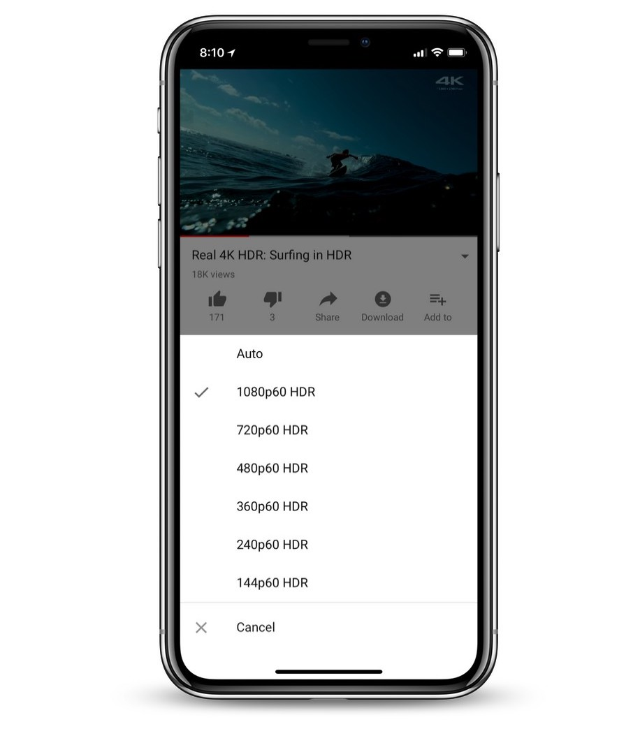 YouTube on iPhone X now supports HDR video